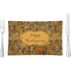 Thanksgiving Rectangular Glass Lunch / Dinner Plate - Single or Set (Personalized)