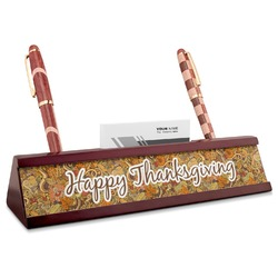 Thanksgiving Red Mahogany Nameplate with Business Card Holder (Personalized)