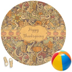 Thanksgiving Round Beach Towel (Personalized)