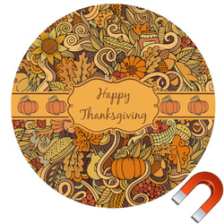 Thanksgiving Round Car Magnet (Personalized)