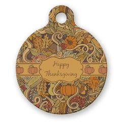 Thanksgiving Round Pet Tag (Personalized)