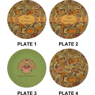 Thanksgiving Set Of Appetizer Dessert Plates