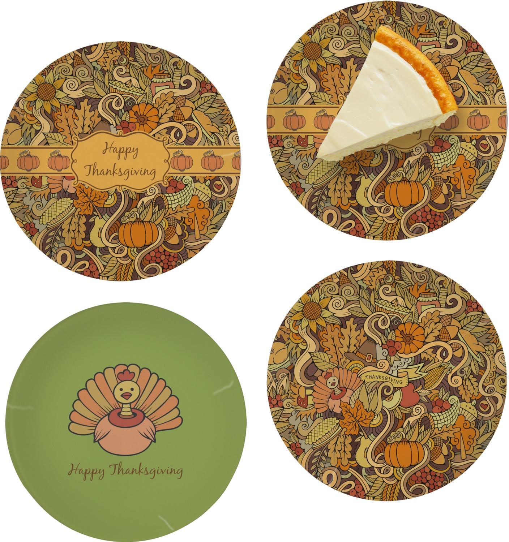 Thanksgiving Set Of 4 Glass Appetizer Dessert Plate 8