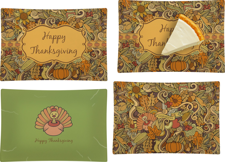 Thanksgiving Set Of 4 Rectangular Appetizer Dessert