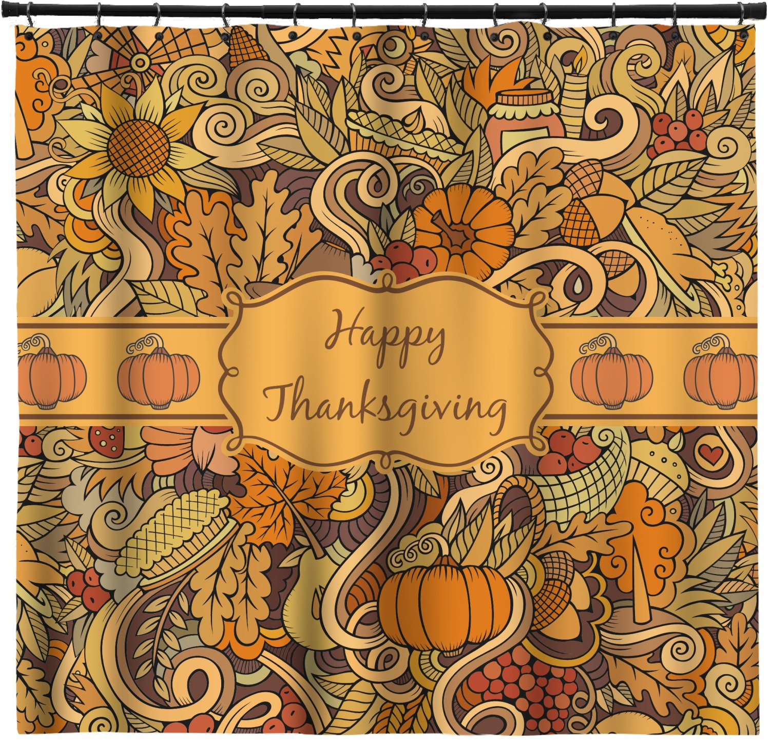 Thanksgiving Shower Curtain Custom Width Height Personalized Youcustomizeit