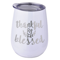 Thanksgiving Stemless Wine Tumbler - 5 Color Choices - Stainless Steel  (Personalized)
