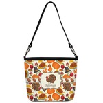 Traditional Thanksgiving Bucket Bag w/ Genuine Leather Trim (Personalized)
