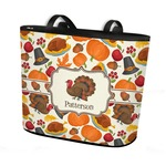 Traditional Thanksgiving Bucket Tote w/ Genuine Leather Trim (Personalized)
