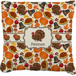 Traditional Thanksgiving Faux-Linen Throw Pillow (Personalized)
