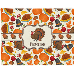 Traditional Thanksgiving Woven Fabric Placemat - Twill w/ Name or Text