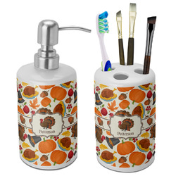Traditional Thanksgiving Ceramic Bathroom Accessories Set (Personalized)