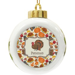 Traditional Thanksgiving Ceramic Ball Ornament (Personalized)