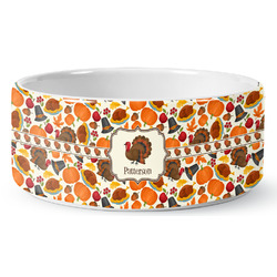 Traditional Thanksgiving Ceramic Dog Bowl (Personalized)