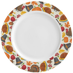 Traditional Thanksgiving Ceramic Dinner Plates (Set of 4) (Personalized)