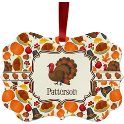 Traditional Thanksgiving Metal Frame Ornament - Double Sided w/ Name or Text
