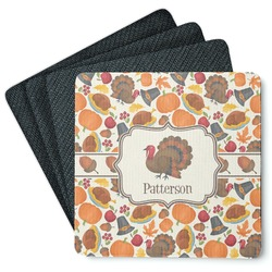 Traditional Thanksgiving 4 Square Coasters - Rubber Backed (Personalized)
