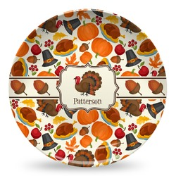 Traditional Thanksgiving Microwave Safe Plastic Plate - Composite Polymer (Personalized)
