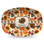 Traditional Thanksgiving Plastic Platter - Microwave & Oven Safe Composite Polymer (Personalized)