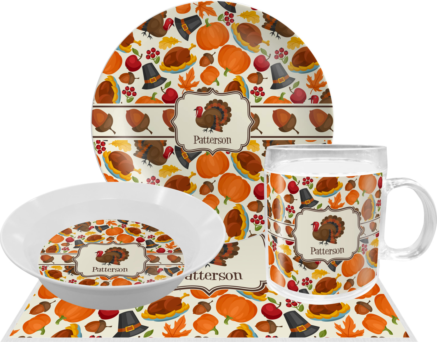 Attractive Traditional Thanksgiving Melamine Plate (Personalized) Traditional  Thanksgiving Dinner Set   4 Pc (Personalized) ...