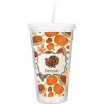 Traditional Thanksgiving Double Wall Tumbler with Straw (Personalized)