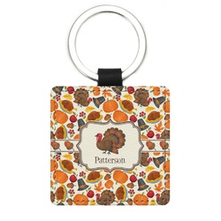 Traditional Thanksgiving Genuine Leather Rectangular Keychain (Personalized)