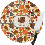Traditional Thanksgiving Round Glass Cutting Board (Personalized)
