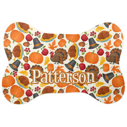 Traditional Thanksgiving Bone Shaped Dog Food Mat (Personalized)