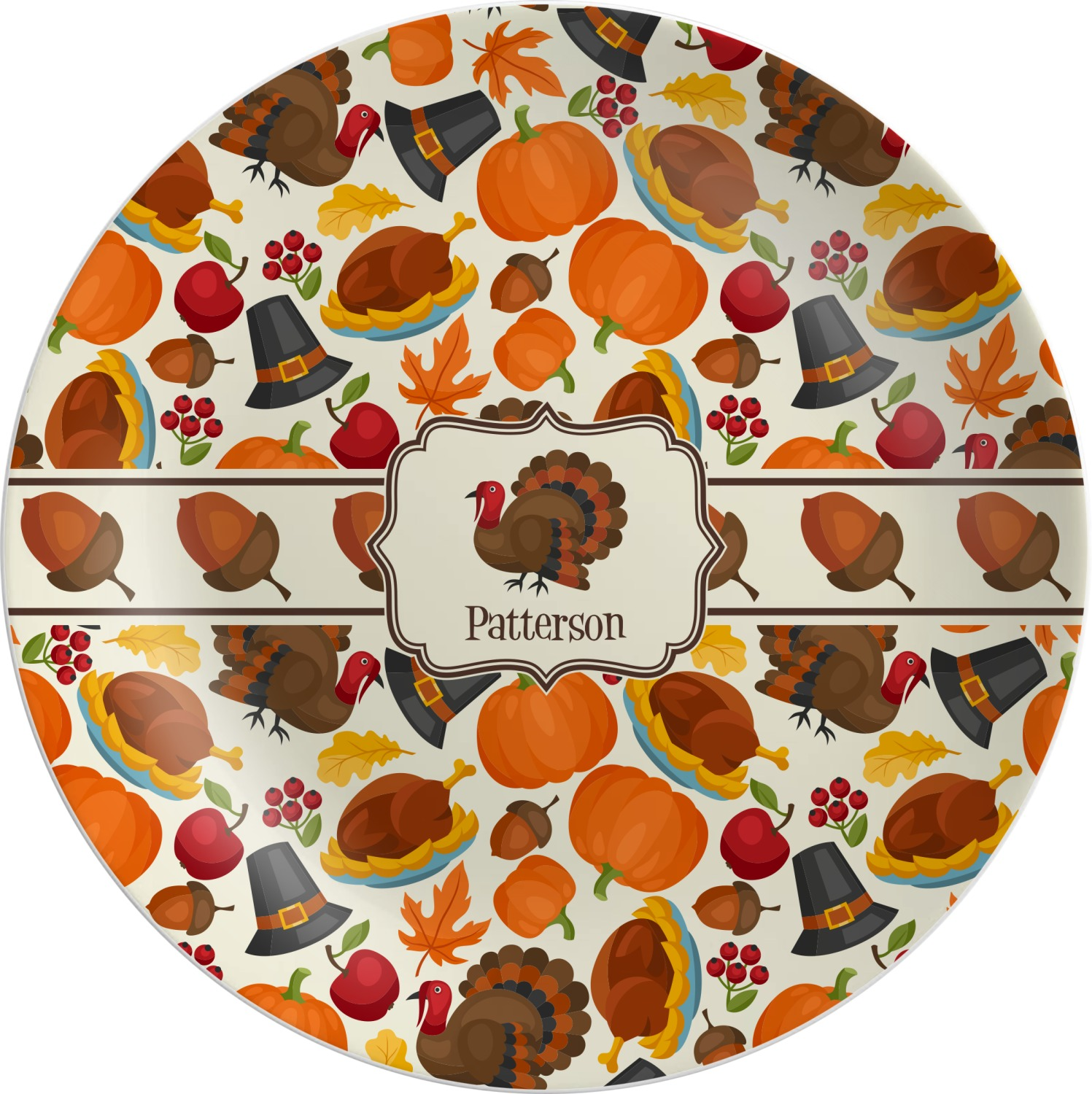 Traditional Thanksgiving Melamine Plate (Personalized)  sc 1 st  YouCustomizeIt : melamine personalized plates - pezcame.com