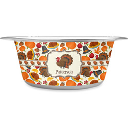 Traditional Thanksgiving Stainless Steel Dog Bowl (Personalized)