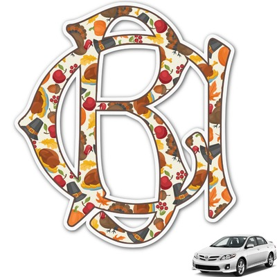 Traditional Thanksgiving Monogram Car Decal (Personalized)