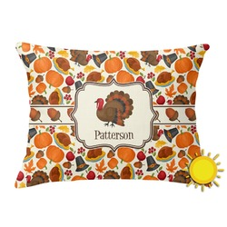 Traditional Thanksgiving Outdoor Throw Pillow (Rectangular) (Personalized)