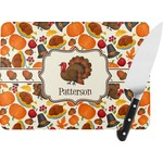 Traditional Thanksgiving Rectangular Glass Cutting Board (Personalized)