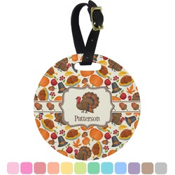 Traditional Thanksgiving Round Luggage Tag (Personalized)
