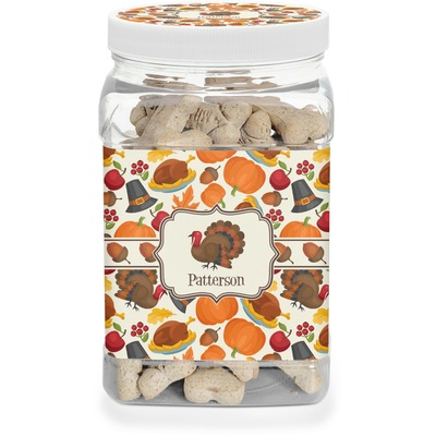 Traditional Thanksgiving Dog Treat Jar (Personalized)