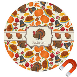 Traditional Thanksgiving Round Car Magnet (Personalized)