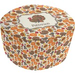Traditional Thanksgiving Round Pouf Ottoman (Personalized)