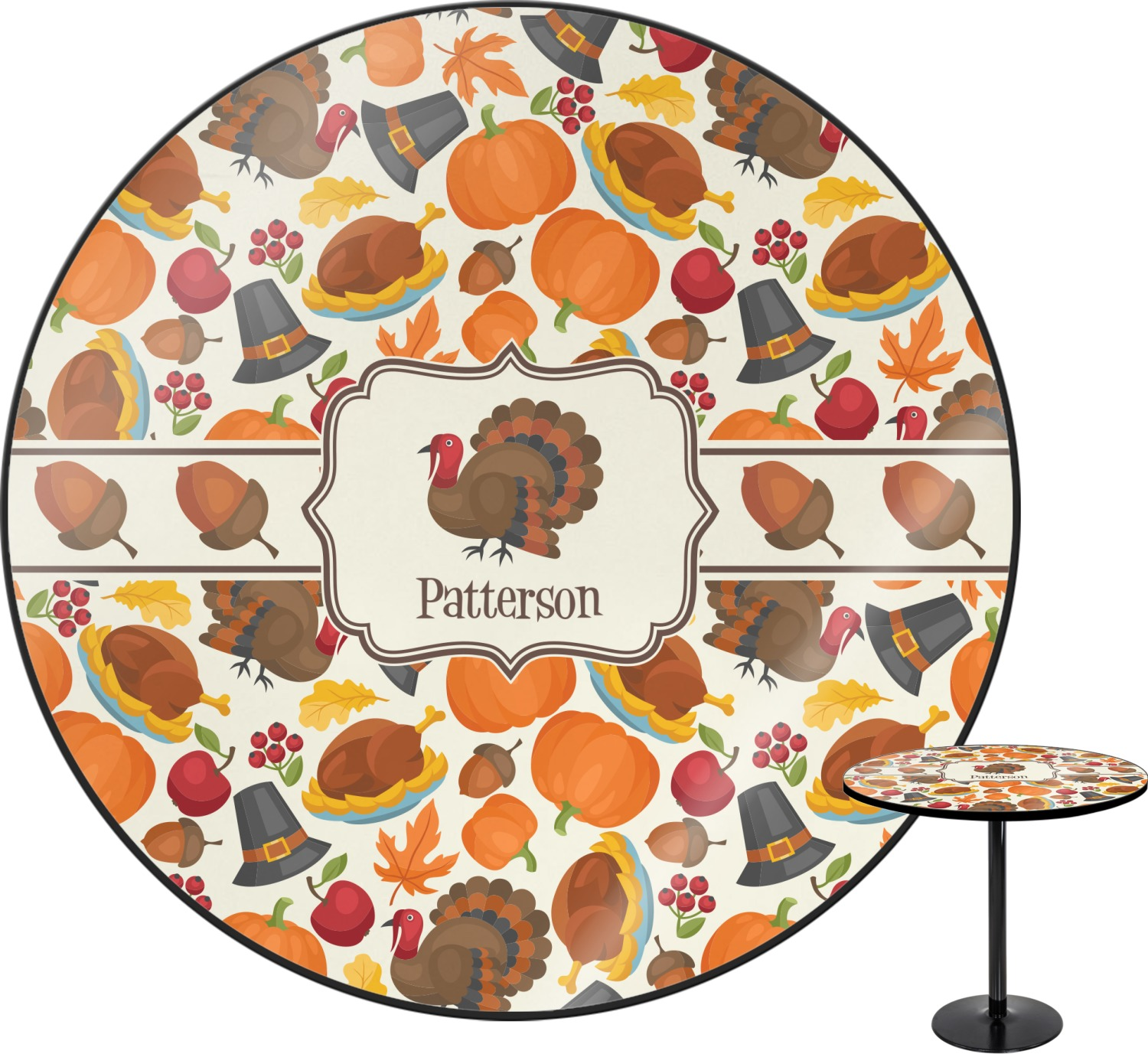 Traditional thanksgiving round table 30 personalized for How to set a round table for thanksgiving
