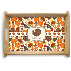 Traditional Thanksgiving Natural Wooden Tray (Personalized)