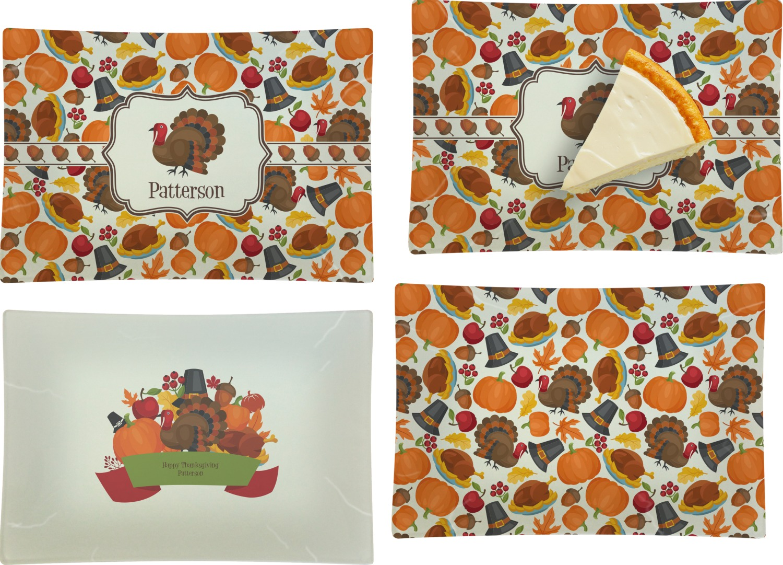 Traditional Thanksgiving Set Of 4 Rectangular Appetizer