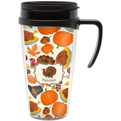 Traditional Thanksgiving Travel Mug with Handle (Personalized)