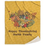 Happy Thanksgiving Sherpa Throw Blanket (Personalized)