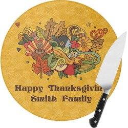 Happy Thanksgiving Round Glass Cutting Board - Small (Personalized)