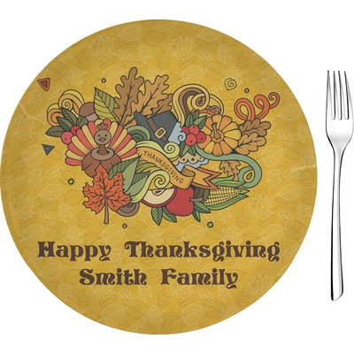 """Happy Thanksgiving 8"""" Glass Appetizer / Dessert Plates - Single or Set (Personalized)"""