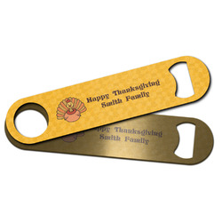 Happy Thanksgiving Bar Bottle Opener w/ Name or Text
