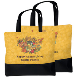 Happy Thanksgiving Beach Tote Bag (Personalized)