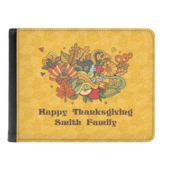 Happy Thanksgiving Genuine Leather Men's Bi-fold Wallet (Personalized)