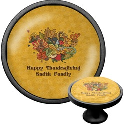 Happy Thanksgiving Cabinet Knob (Black) (Personalized)