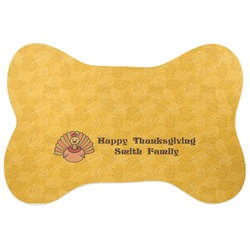Happy Thanksgiving Bone Shaped Dog Food Mat (Personalized)