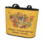 Happy Thanksgiving Bucket Tote w/ Genuine Leather Trim (Personalized)