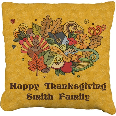 """Happy Thanksgiving Faux-Linen Throw Pillow 18"""" (Personalized)"""